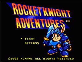 Title screen of Rocket Knight Adventures on the Sega Nomad.