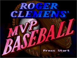 Title screen of Roger Clemens' MVP Baseball on the Sega Nomad.