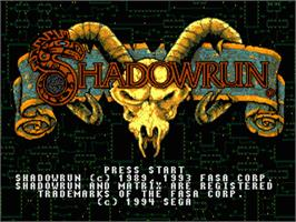 Title screen of Shadowrun on the Sega Nomad.