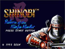Title screen of Shinobi III on the Sega Nomad.