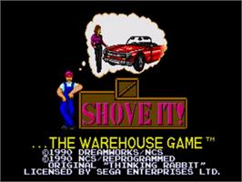 Title screen of Shove It! The Warehouse Game on the Sega Nomad.