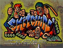 Title screen of Skitchin' on the Sega Nomad.