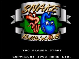 Title screen of Snake Rattle 'n Roll on the Sega Nomad.
