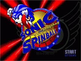 Title screen of Sonic Spinball on the Sega Nomad.