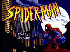 Title screen of Spider-Man: The Animated Series on the Sega Nomad.
