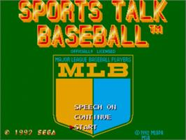 Title screen of Sports Talk Baseball on the Sega Nomad.