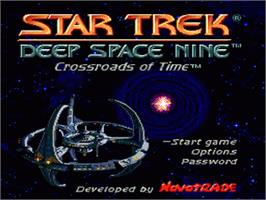 Title screen of Star Trek Deep Space Nine - Crossroads of Time on the Sega Nomad.
