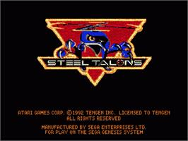 Title screen of Steel Talons on the Sega Nomad.