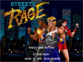 Title screen of Streets of Rage on the Sega Nomad.