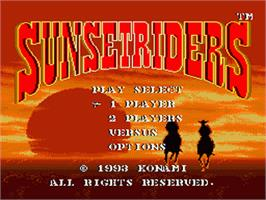 Title screen of Sunset Riders on the Sega Nomad.