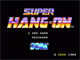 Title screen of Super Hang-On on the Sega Nomad.