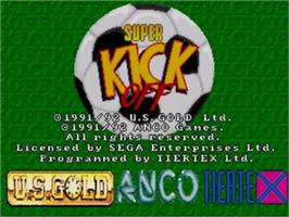Title screen of Super Kick Off on the Sega Nomad.