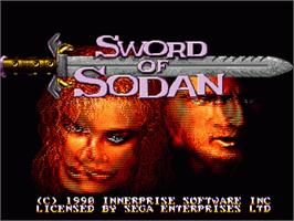 Title screen of Sword of Sodan on the Sega Nomad.