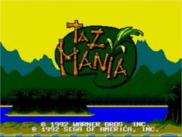 Title screen of Taz-Mania on the Sega Nomad.