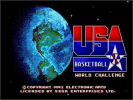 Title screen of Team USA Basketball on the Sega Nomad.