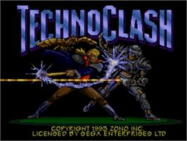 Title screen of Techno Clash on the Sega Nomad.