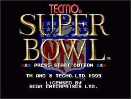 Title screen of Tecmo Super Bowl on the Sega Nomad.