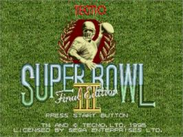 Title screen of Tecmo Super Bowl III: Final Edition on the Sega Nomad.