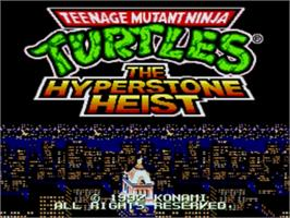 Title screen of Teenage Mutant Ninja Turtles: The HyperStone Heist on the Sega Nomad.