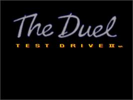 Title screen of Test Drive II - The Duel on the Sega Nomad.