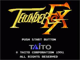 Title screen of Thunder Fox on the Sega Nomad.