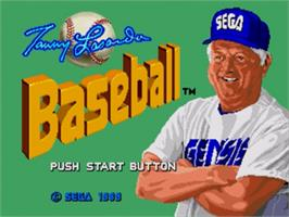 Title screen of Tommy Lasorda Baseball on the Sega Nomad.