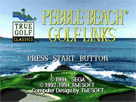 Title screen of True Golf Classics: Pebble Beach Golf Links on the Sega Nomad.