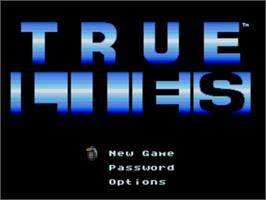 Title screen of True Lies on the Sega Nomad.