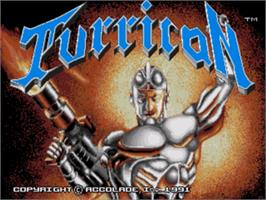 Title screen of Turrican on the Sega Nomad.
