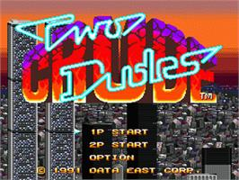 Title screen of Two Crude Dudes on the Sega Nomad.
