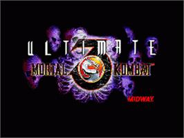Title screen of Ultimate Mortal Kombat 3 on the Sega Nomad.