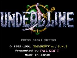 Title screen of Undead Line on the Sega Nomad.