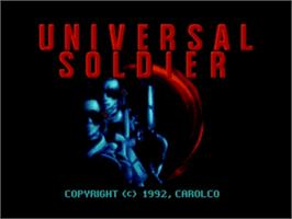 Title screen of Universal Soldier on the Sega Nomad.