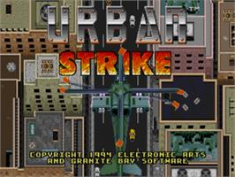 Title screen of Urban Strike on the Sega Nomad.