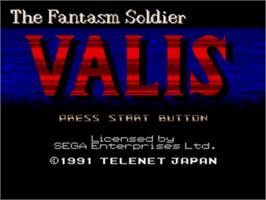 Title screen of Valis: The Fantasm Soldier on the Sega Nomad.