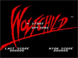 Title screen of Wolfchild on the Sega Nomad.