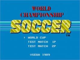 Title screen of World Championship Soccer on the Sega Nomad.