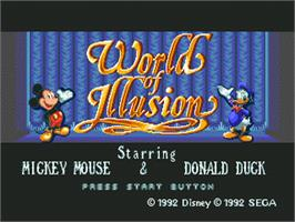 Title screen of World of Illusion starring Mickey Mouse and Donald Duck on the Sega Nomad.