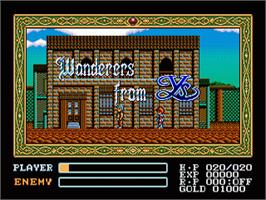 Title screen of Ys III: Wanderers from Ys on the Sega Nomad.