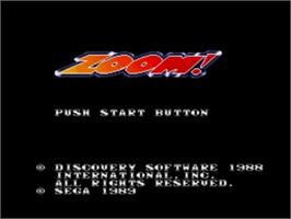 Title screen of Zoom! on the Sega Nomad.