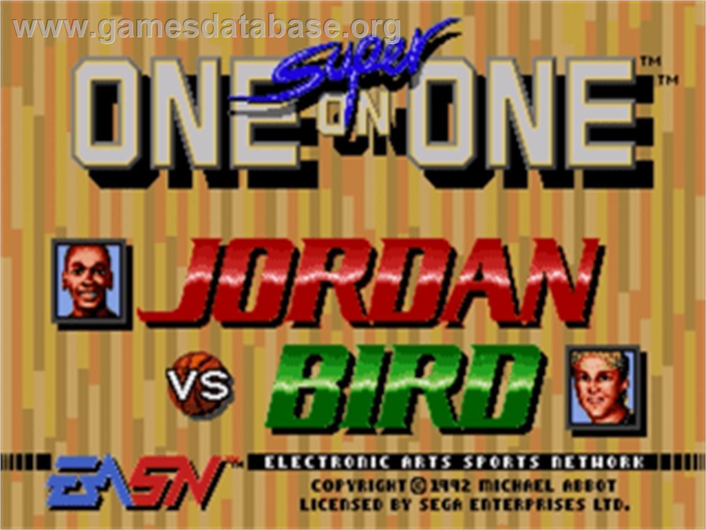 Title screen of Jordan vs. Bird: One-on-One on the Sega Nomad.