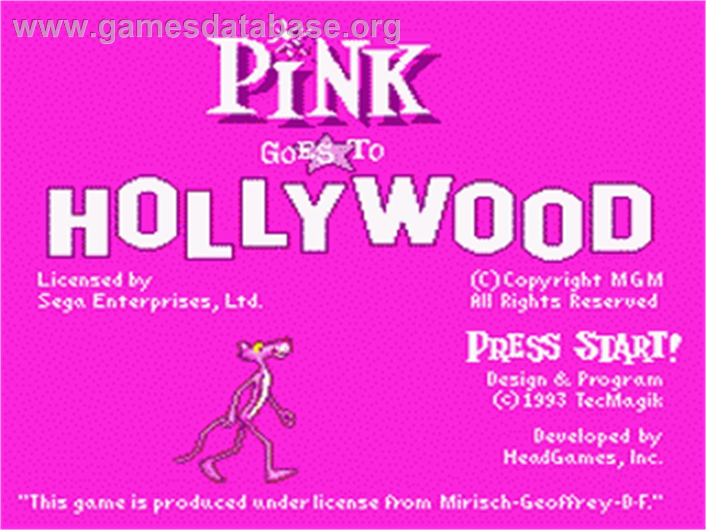 Pink Goes to Hollywood - Sega Nomad - Artwork - Title Screen