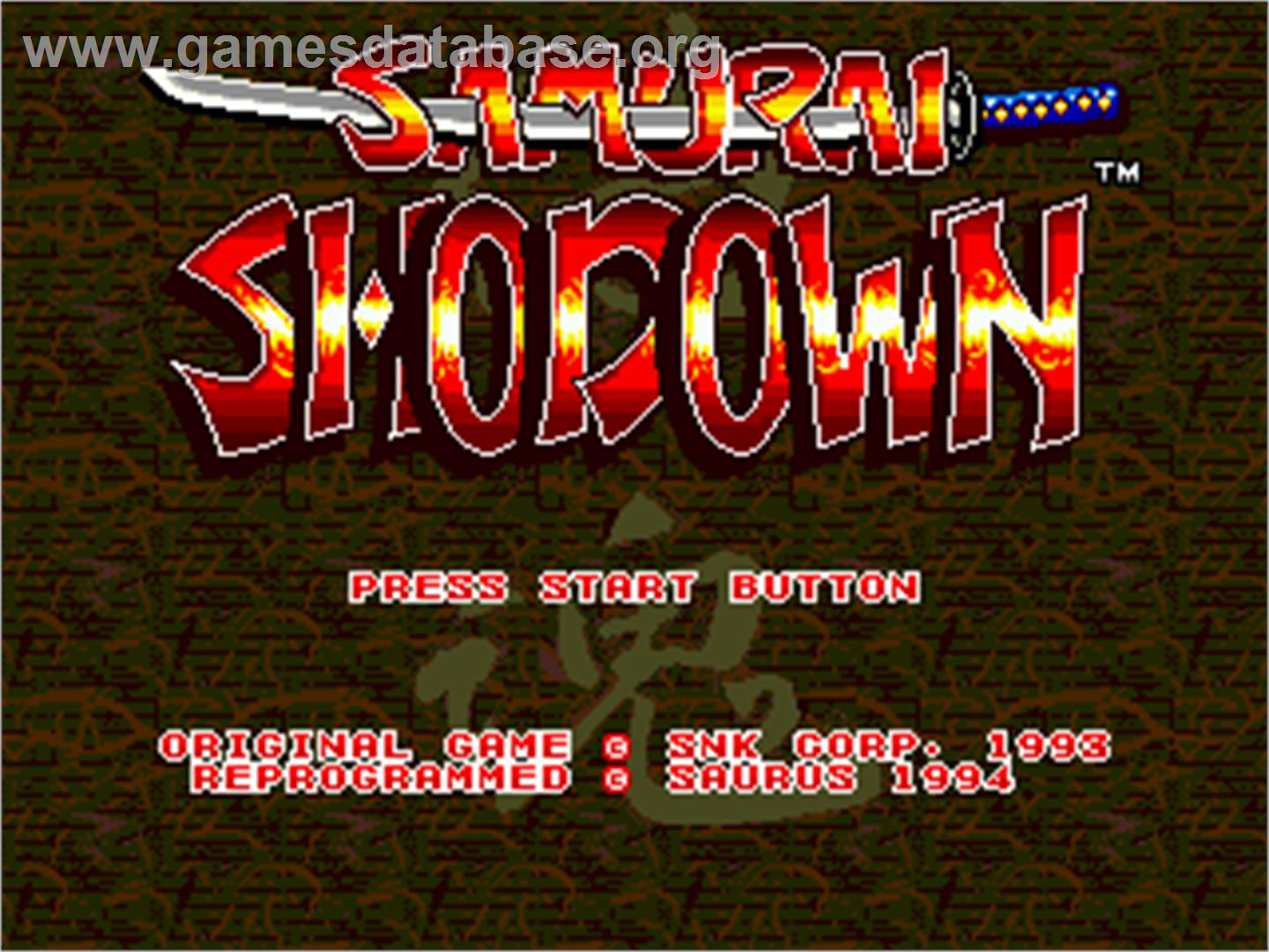 Samurai Shodown / Samurai Spirits - Sega Nomad - Artwork - Title Screen