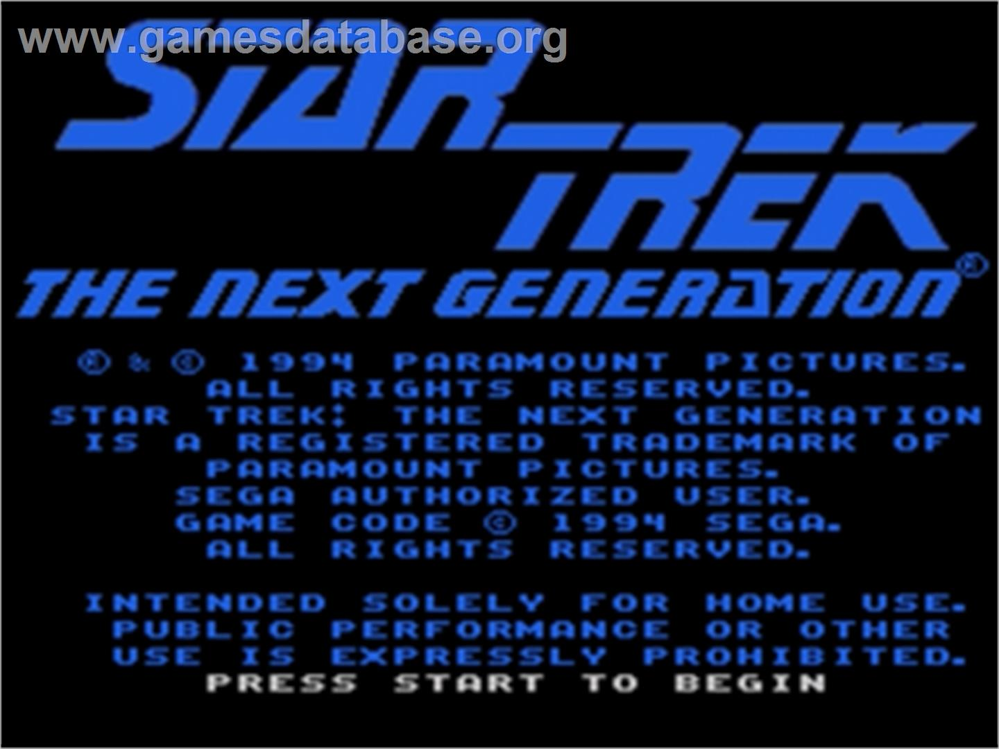 Star Trek The Next Generation - Echoes from the Past - Sega Nomad - Artwork - Title Screen