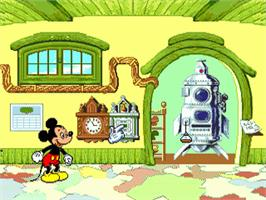 In game image of Mickey's Blast into the Past on the Sega Pico.