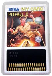Cartridge artwork for Pitfall II on the Sega SG-1000.