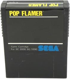 Cartridge artwork for Pop Flamer on the Sega SG-1000.