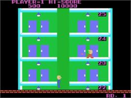 In game image of Elevator Action on the Sega SG-1000.