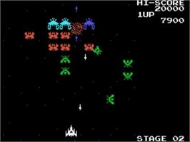 In game image of Galaga on the Sega SG-1000.