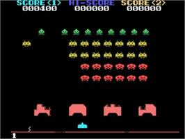 In game image of Space Invaders on the Sega SG-1000.